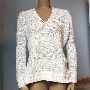 Vince White Open Knit V-Neck Sweater